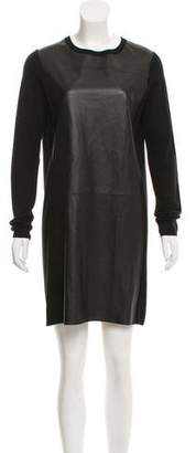 Vince Leather & Wool Mini Dress