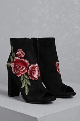 Forever 21 Embroidered Floral Ankle Boots