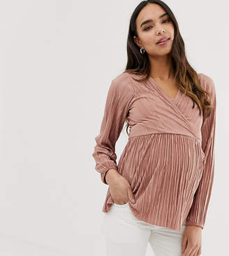 Asos (エイソス) - Asos Maternity Nursing ASOS DESIGN Maternity nursing plisse top with peplum in dusky pink