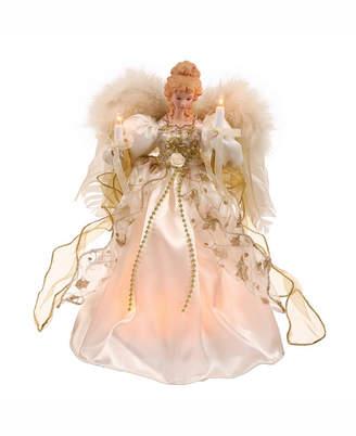 "Vickerman 12"" White-Gold Lit Angel Christmas Tree Topper"
