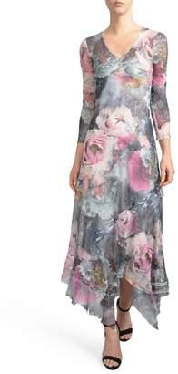 Komarov Handkerchied Hem Floral Maxi Dress