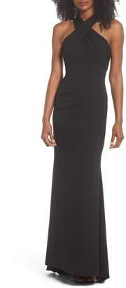 Eliza J Side Pleat Crossneck Gown
