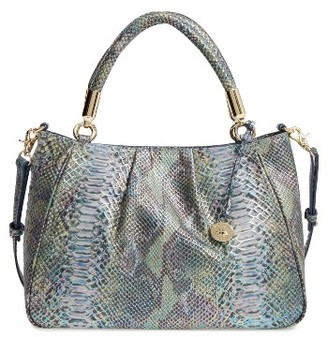 Brahmin Ruby Snakeskin Embossed Leather Satchel - Blue/green $395 thestylecure.com