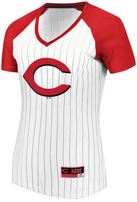 Majestic Women's Cincinnati Reds Every Aspect Pinstripe T-Shirt