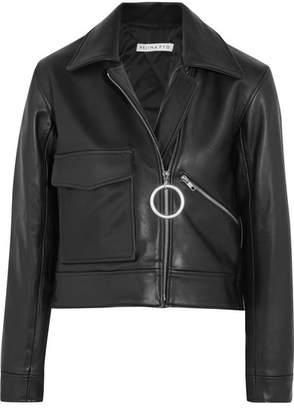 REJINA PYO - Sara Cropped Leather Biker Jacket - Black