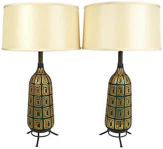 One Kings Lane Vintage Midcentury Glass Lamps - Set of 2