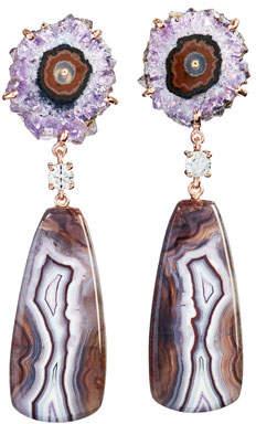 Jan Leslie 18k Bespoke 2-Tier Tribal Luxury Earrings w/ Stalactite, Purple Passion & Diamonds