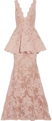Marchesa - Tulle-paneled Guipure Lace Peplum Gown - Baby pink $4,990 thestylecure.com