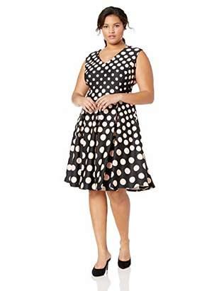 0b2a00680617 Gabby Skye Women's Plus Size Cap Sleeve V-Neck Scuba Fit and Flare Dress