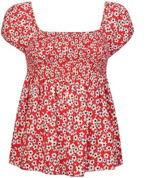 Dorothy Perkins Womens Petite Red Ditsy Print Shirred Top