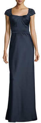 La Femme Embellished Cap-Sleeve Satin Gown, Navy $498 thestylecure.com