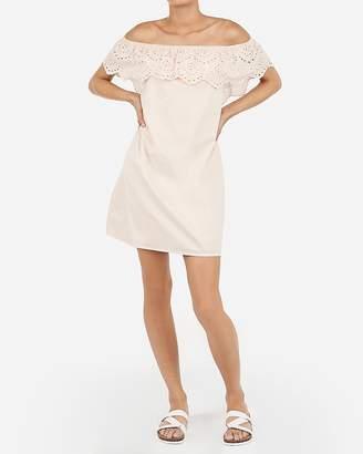 Express X Karla Off The Shoulder Eyelet Lace Shift Dress