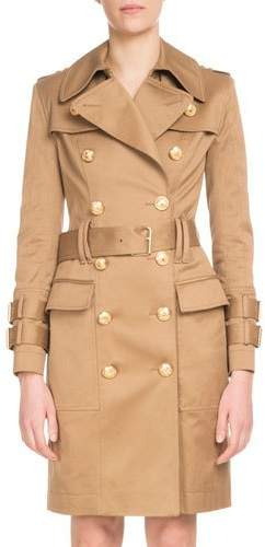 Double-Breasted Golden-Button Belted Trench Coat