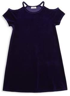 Design History Girl's Cold-Shoulder Velvet A-Line Dress