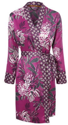 George Purple Floral Satin Wrap Dressing Gown