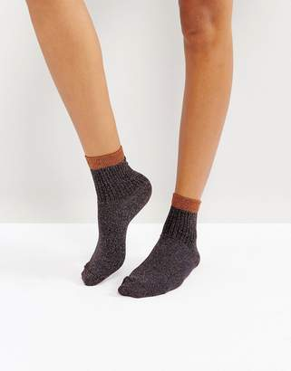 Asos DESIGN Ribbed Glitter Ankle Socks in Bronze