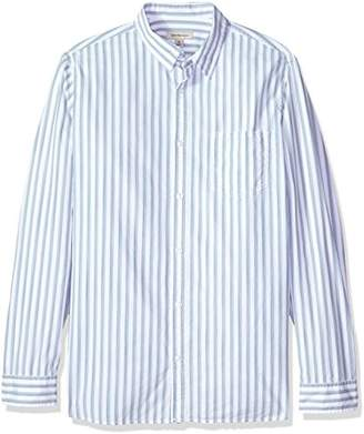 Calvin Klein Jeans Men's Long Sleeve Button Down Shirt Vertical Space Dye Stripe