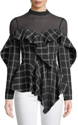 Self-Portrait Long-Sleeve Check Ruffle Handkerchief Top