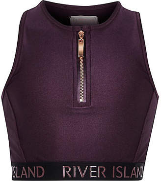 River Island Girls RI Active Purple zip front crop top