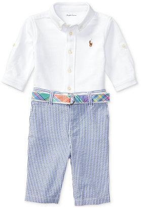 Ralph Lauren Knit Oxford Shirt And Seersucker Pants Set, Baby Boys (0-24 months) $59.50 thestylecure.com