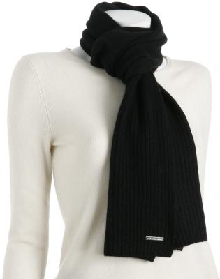 Michael Kors black cashmere-wool rib border scarf