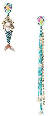 Betsey Johnson Sealife Crystal Mermaid Mismatch Drop Earrings
