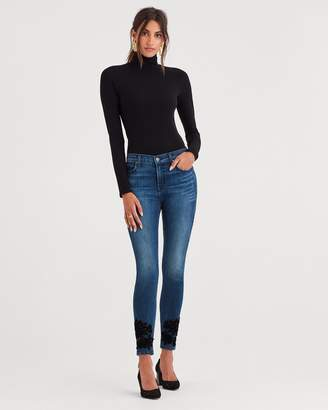 7 For All Mankind b(air) Authentic Denim High Waist Ankle Skinny with Lace Applique around Hem in Black