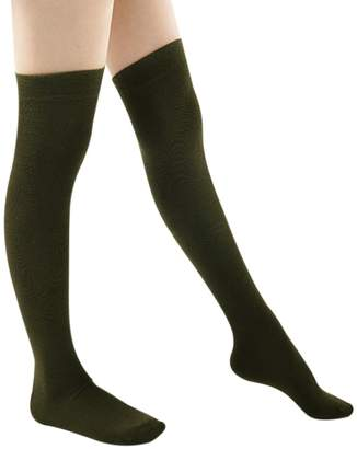Alizeal Warm Thigh High Over the Knee Socks Long Cotton Stockings For Girls Ladies Women Solid