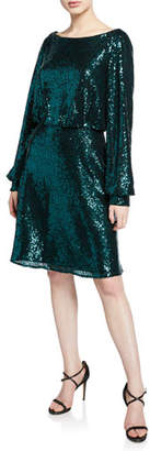 Tadashi Shoji Sequin High-Neck Long-Sleeve Dress with Lace Cowl-Back