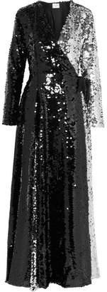 Leone we are Two-tone Sequined Tulle Wrap Dress - Black