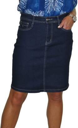 Ice Stretch Denim Above Knee Stitch Detail Jeans Skirt Indigo Blue 4-16