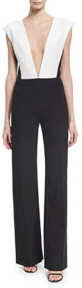 Thierry Mugler Plunging V Plisse-Paneled Wide-Leg Jumpsuit, Black/White