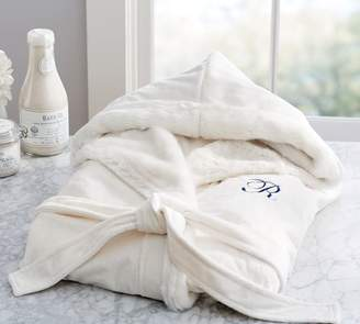 Pottery Barn Faux Fur Hooded Bath Robe - Ivory Alpaca