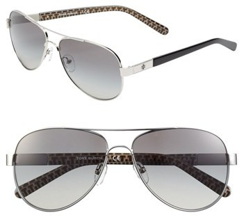 Tory Burch 57mm Metal Aviator Sunglasses
