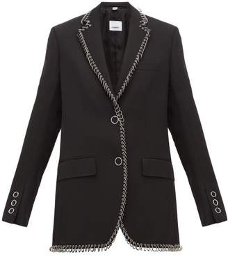 Burberry Ring Embellished Single Breasted Wool Blazer - Womens - Black