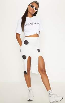 PrettyLittleThing White Double Split Polka Dot Midi Skirt