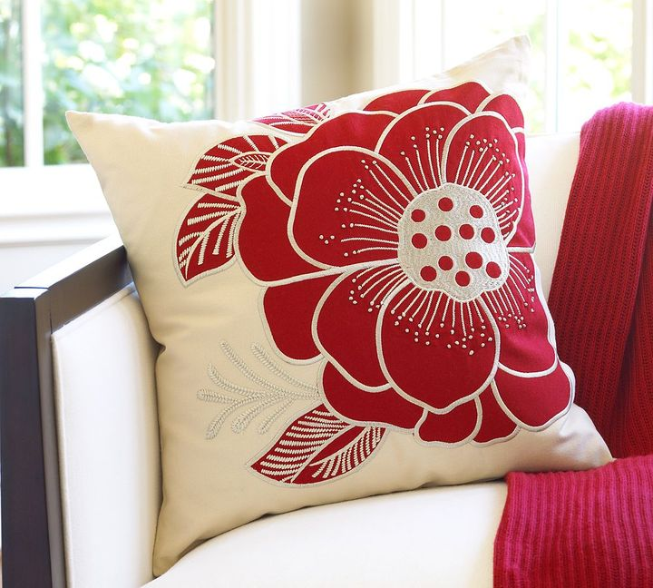 Rosa Red-Flower Pillow Cover
