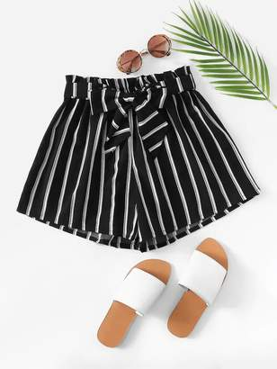 Shein Plus Striped Paper Bag Belted Shorts