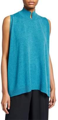 eskandar Cashmere Sleeveless Slit High-Neck Sweater