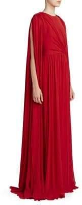 Elie Saab Women's Drape Sleeve Crepe Gown - Pavot - Size 40 (8)