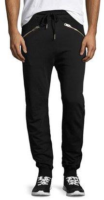 Diesel Net-Panel Zip-Pocket Jogger Pants, Black $178 thestylecure.com
