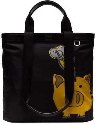 Dolce & Gabbana black pig print multi-strap tote bag