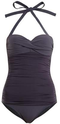 Heidi Klein - Body Ruched Bandeau Swimsuit - Womens - Dark Grey