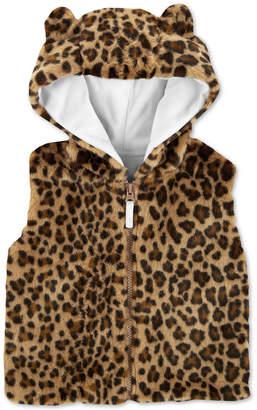 Carter's Toddler Girls Faux-Fur Cheetah-Print Hooded Vest