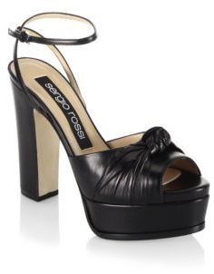 Sergio Rossi Kaia Knot Leather Platform Sandals
