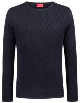 HUGO Boss Slim-fit sweater in knitted jacquard geometric pattern S Dark Blue