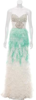 Mac Duggal Feather Accented Evening Dress w/ Tags