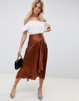 Asos Design DESIGN satin midi skirt with self buttons