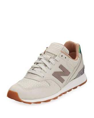 New Balance 696 Leather & Jacquard Sneaker, Beige $129.95 thestylecure.com