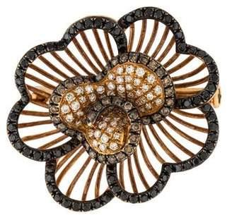 18K Diamond Floral Brooch